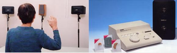 写真5:音場検査の実際中央のスピーカーから会話音を、左右2個のスピーカーから雑音を出し、検査を行います。